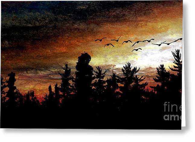 Geese Pastels Greeting Cards - Treetop Flight Greeting Card by R Kyllo