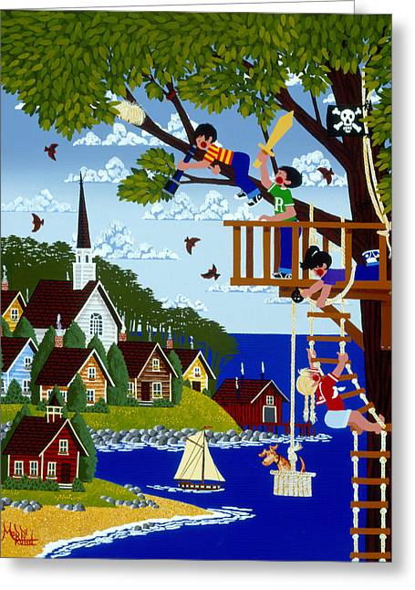 Treehouse Greeting Cards - Treetop Pirates Greeting Card by Merry  Kohn Buvia