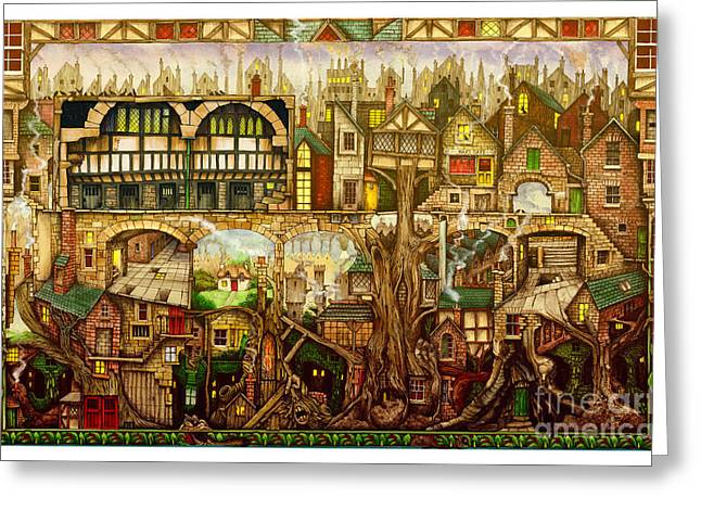 Frame House Digital Greeting Cards - Treetown Greeting Card by Colin Thompson