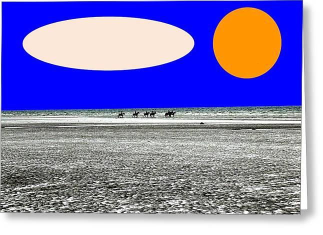 Surreal Horses Fine Art Prints Greeting Cards - Trekking Greeting Card by Patrick J Murphy