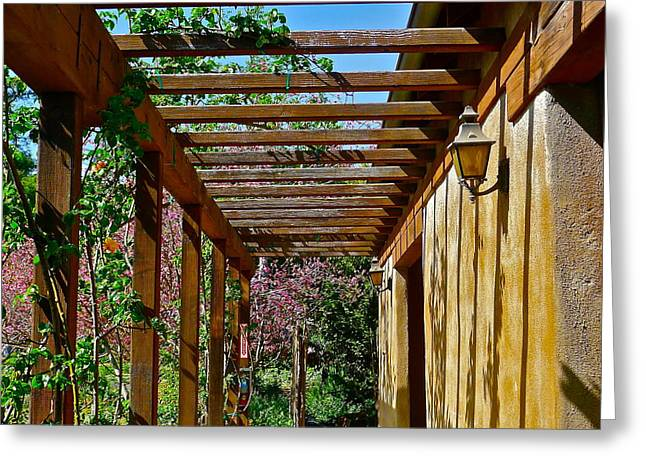 Trellis Greeting Cards - Trellis Walkway Greeting Card by Denise Mazzocco