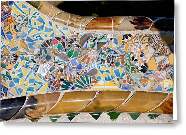 Catalunya Greeting Cards - Trencadis Mosaic at Gaudi Park Guell in Barcelona Greeting Card by Artur Bogacki