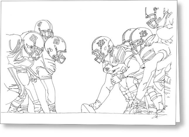 Nick Saban Greeting Cards - Trench Warfare Greeting Card by Calvin Durham