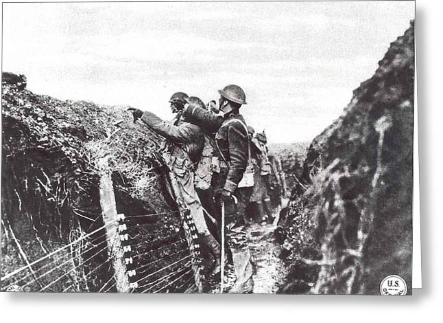 Aef Greeting Cards - Trench Warfare Greeting Card by Unknown