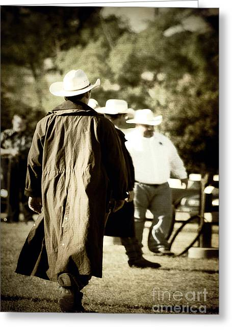 Leather Coat Greeting Cards - Trenchcoat Cowboy Greeting Card by Trish Mistric