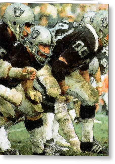 Pro Football Paintings Greeting Cards - Trenches Raiders Greeting Card by John Farr