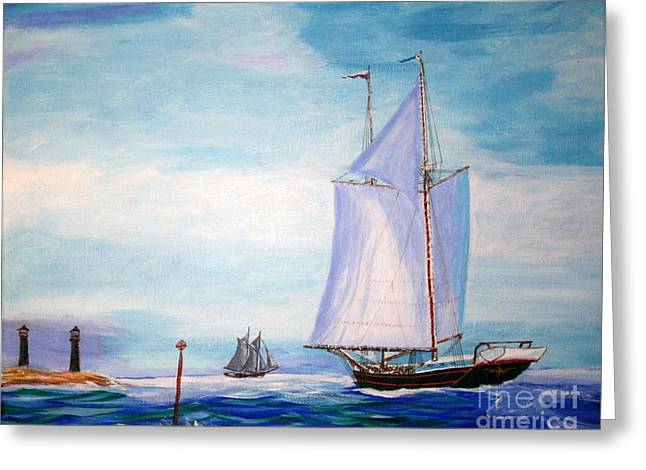 Boston Ma Drawings Greeting Cards - Trending Into Maine - Coasters Meeting Greeting Card by Bill Hubbard