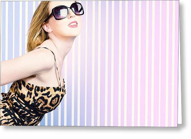 Trendy Fashion Model Wearing 80's Attire Greeting Card by Jorgo Photography - Wall Art Gallery
