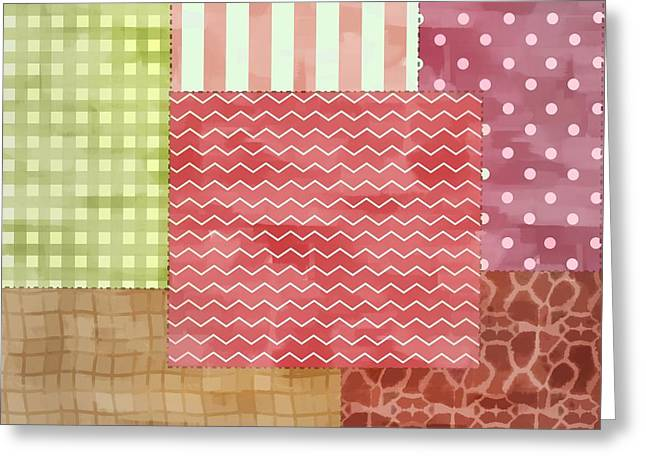 Crazy Quilt Greeting Cards - Trendy Patchwork Quilt Greeting Card by Tracie Kaska