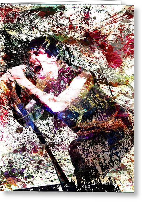 Hard Rock Mixed Media Greeting Cards - Trent Reznor Artwork Greeting Card by Ryan RockChromatic