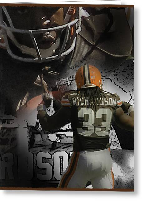 Trent Richardson Greeting Cards - Trent Richardson Guns Greeting Card by Tom Climes