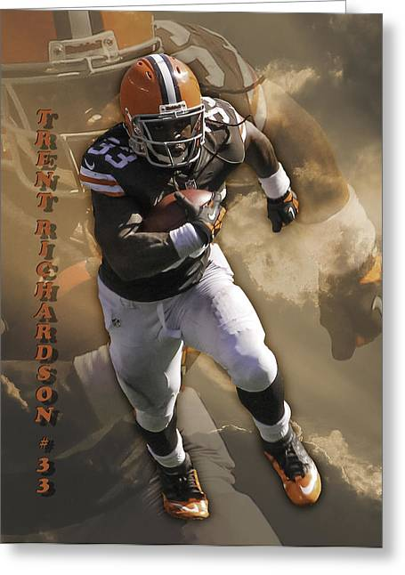 Trent Richardson Greeting Cards - Trent Richardson Greeting Card by Tom Climes