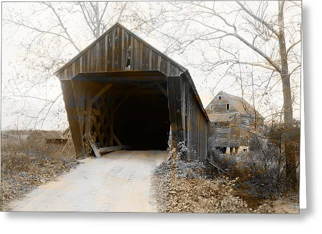 Trent Greeting Cards - Trents Mills Covered Bridge Buckingham County Virginia Greeting Card by Digital Reproductions