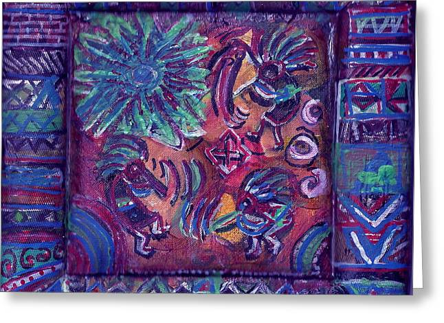 Orange Tapestries - Textiles Greeting Cards - Tres Amigos Kokopellis Greeting Card by Anne-Elizabeth Whiteway
