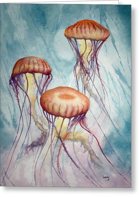 Jelly Fish Paintings Greeting Cards - Tres Jellyfish Greeting Card by Jeff Lucas