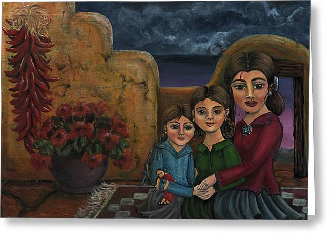 Mom Paintings Greeting Cards - Tres Mujeres Three Women Greeting Card by Victoria De Almeida