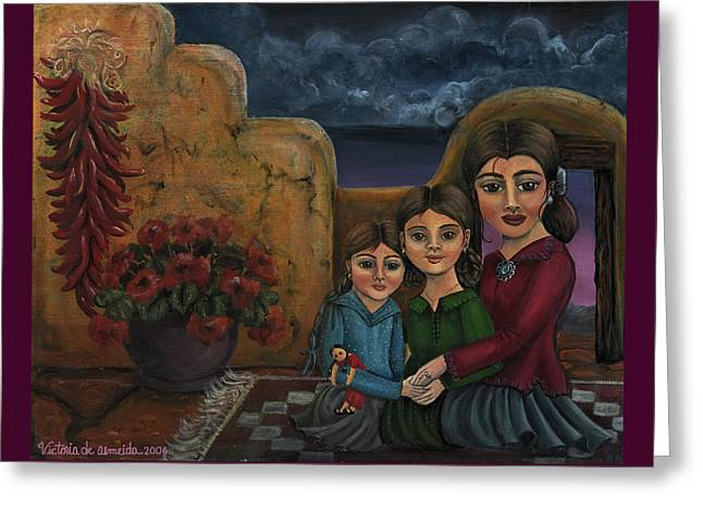 Shinas Greeting Cards - Tres Mujeres Three Women Greeting Card by Victoria De Almeida