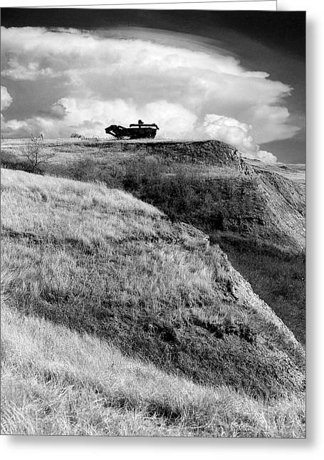 Mid West Landscape Art Greeting Cards - Treshing Machine on Hill Top Greeting Card by Donald  Erickson