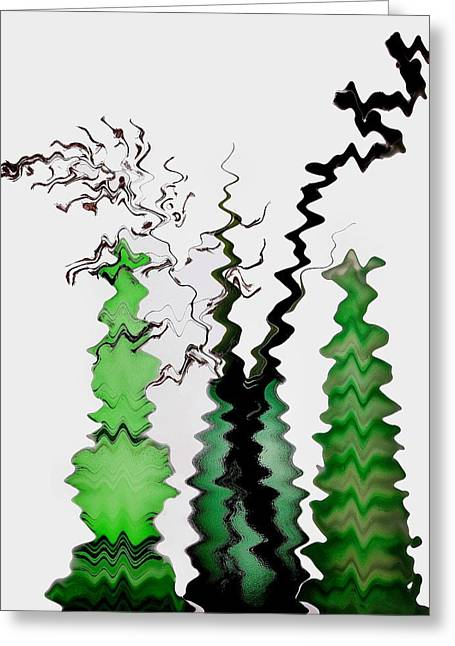 Tress Greeting Cards - Abstract Christmas tree Greeting Card by Manfred Lutzius