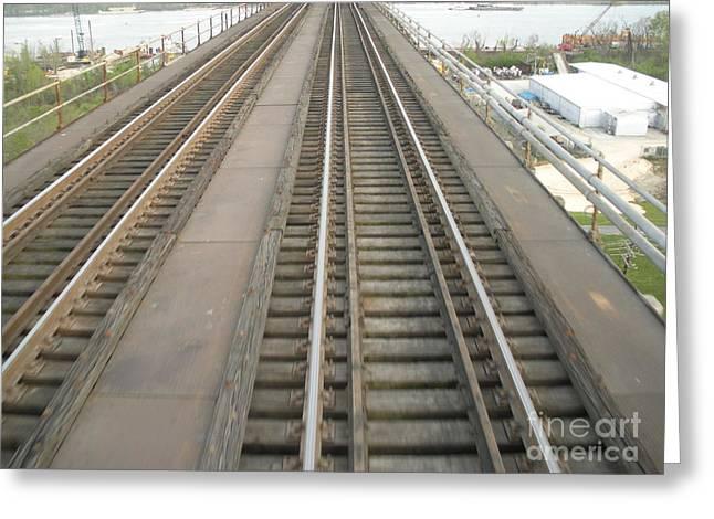 Railroad Tug Greeting Cards - Trestle Train Tracks Greeting Card by Joseph Baril