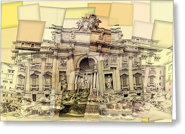 Trevi Fountain Cubism Greeting Card by Dan Sproul
