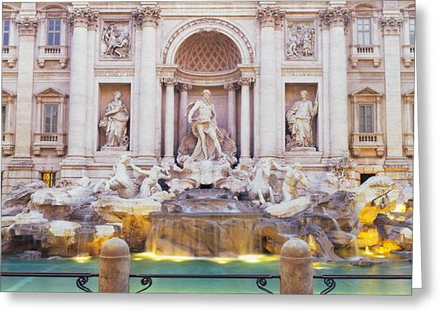 Good Luck Greeting Cards - Trevi Fountain Rome Italy Greeting Card by Panoramic Images