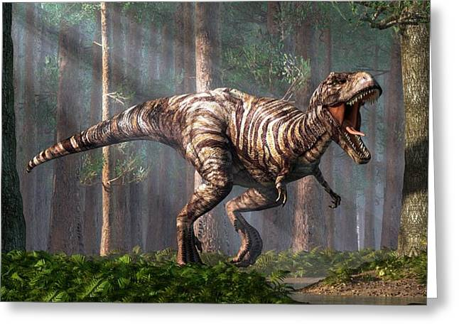 Triassic Greeting Cards - TRex in the Forest Greeting Card by Daniel Eskridge