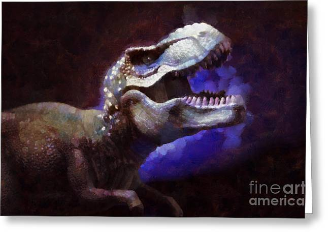 Trex Greeting Cards - Trex roar Greeting Card by Pixel Chimp