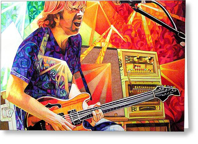 Light Drawings Greeting Cards - Trey Anastasio Squared Greeting Card by Joshua Morton