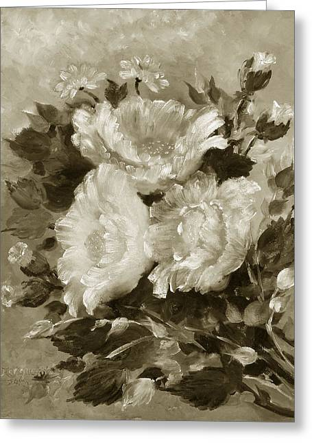 Flowers Sculptures Greeting Cards - Tri-Bouquet 2 Greeting Card by Marguerite Ujvary Taxner