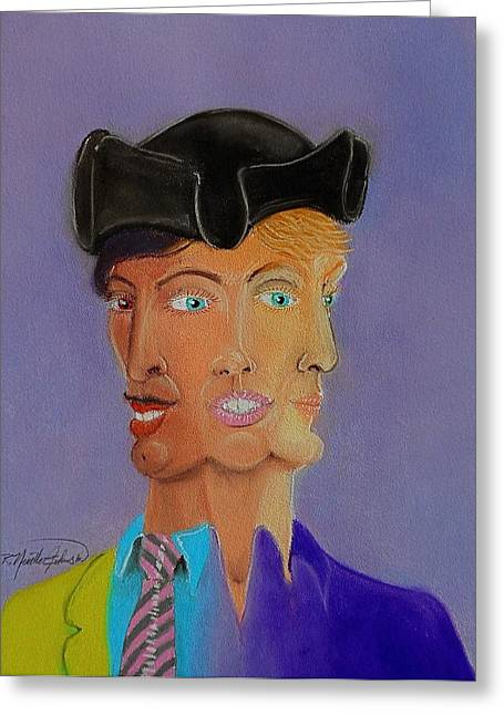 Merged Mixed Media Greeting Cards - Tri-Face Greeting Card by R Neville Johnston