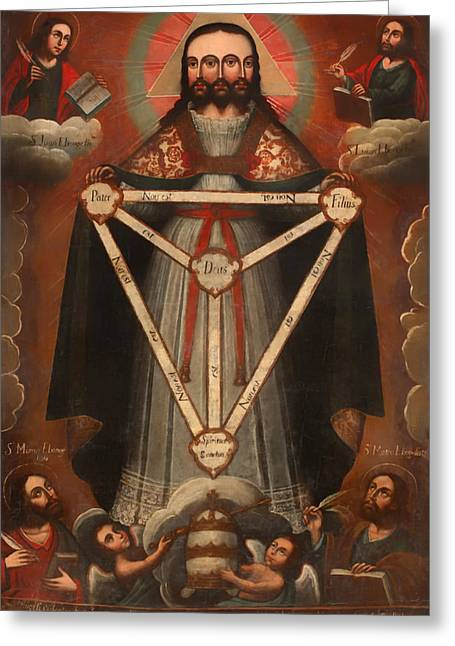 Religious Artwork Paintings Greeting Cards - Tri Facial Trinity Greeting Card by Mountain Dreams
