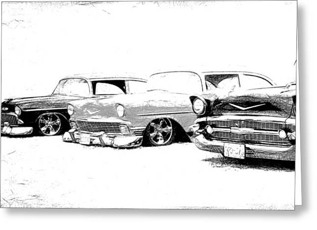 Fleetmaster Greeting Cards - Tri Five Chevrolets Greeting Card by Steve McKinzie