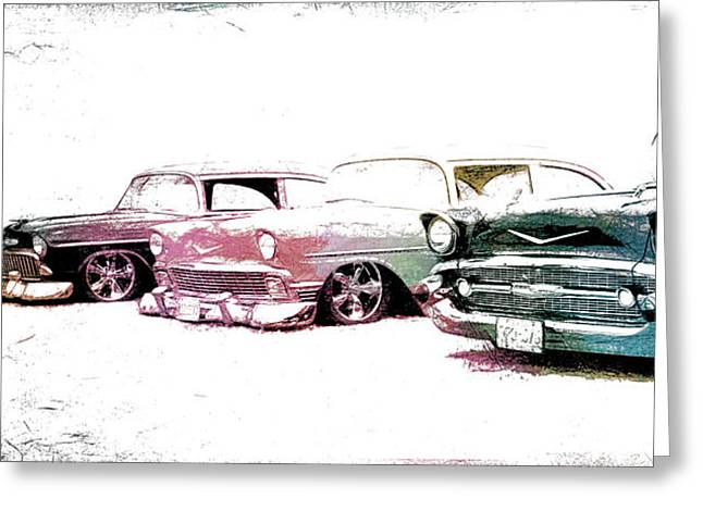 Graffitti Coupe Greeting Cards - Tri Five Chevys Greeting Card by Steve McKinzie