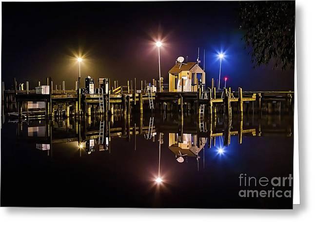 Karen Walker Greeting Cards - Tri-lights at the Marina Greeting Card by Karen Walker