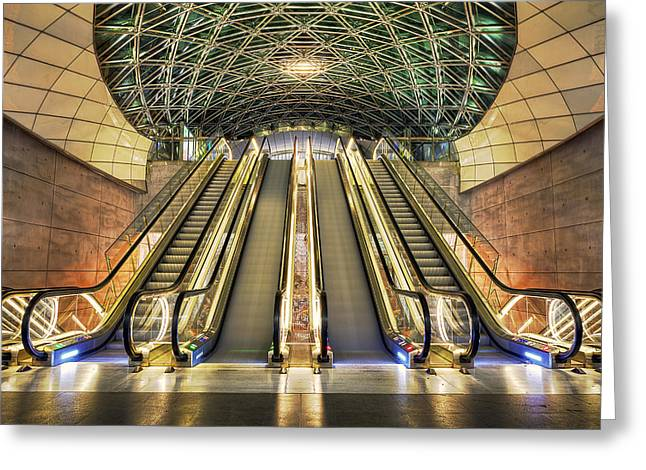 Sweden Greeting Cards - Triangeln Station Escalators Greeting Card by EXparte SE