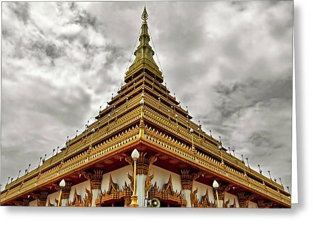 Ampamuka Greeting Cards - Triangle Pagoda Greeting Card by Suradej Chuephanich