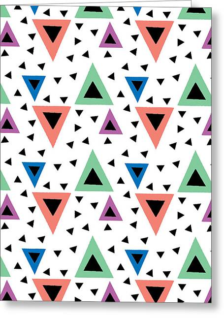 Abstract Geometric Greeting Cards - Triangular Dance Repeat Print Greeting Card by Susan Claire