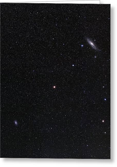 Triangulum And Andromeda Galaxies Greeting Card by Eckhard Slawik