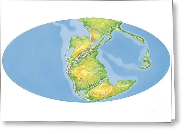 Pangea Greeting Cards - Triassic World Map, Artwork Greeting Card by Gary Hincks