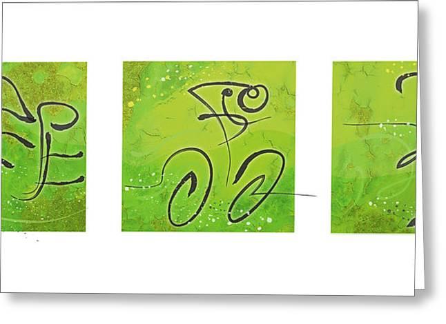 Ironman Paintings Greeting Cards - Triathlon Green Triptych Greeting Card by Alejandro Maldonado