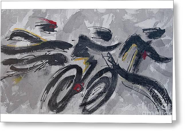 Ironman Paintings Greeting Cards - Triathlon on Shadow Sequence Greeting Card by Alejandro Maldonado