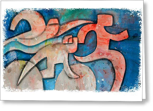 Ironman Paintings Greeting Cards - Triathlon Sequence on Pink and Blue Greeting Card by Alejandro Maldonado