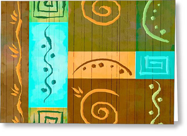 Bryant Greeting Cards - Tribal Abstract Greeting Card by Brenda Bryant