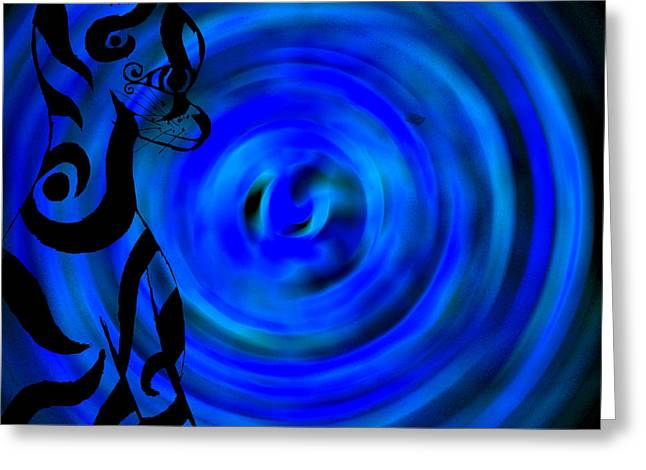 Tribal Cat On Blue Swirl Greeting Card by Josephine Ring