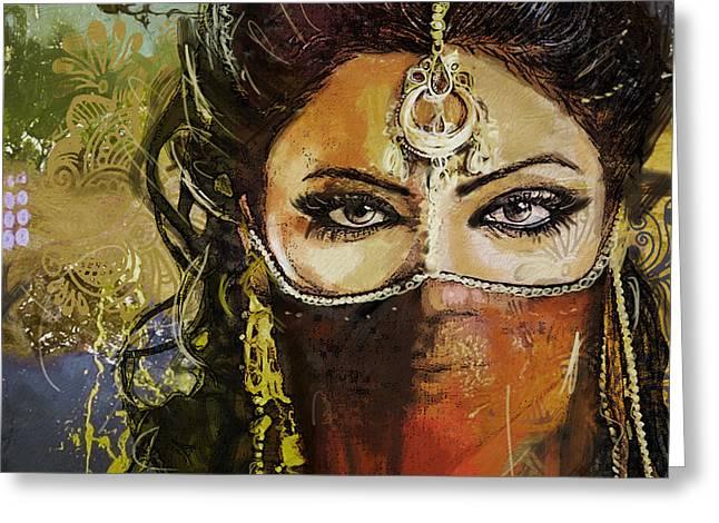 Hijab Design Art Greeting Cards - Tribal Dancer 6 Greeting Card by Mahnoor Shah