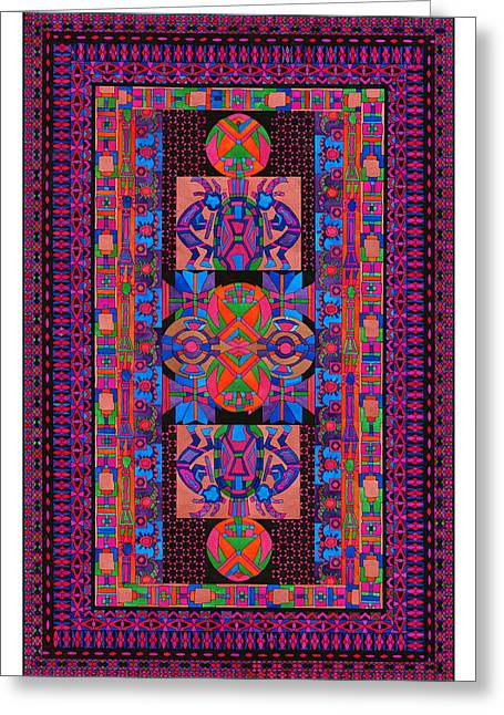 Americans Tapestries - Textiles Greeting Cards - Tribal Display Greeting Card by Lawrence Chvotzkin