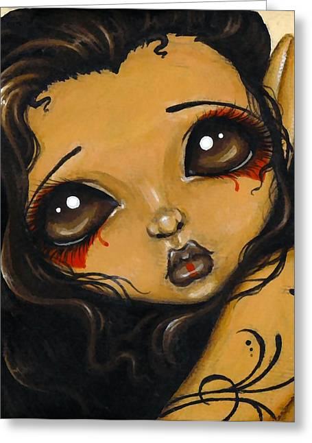 Fantasy Art Greeting Cards - Tribal Fae Greeting Card by Elaina  Wagner