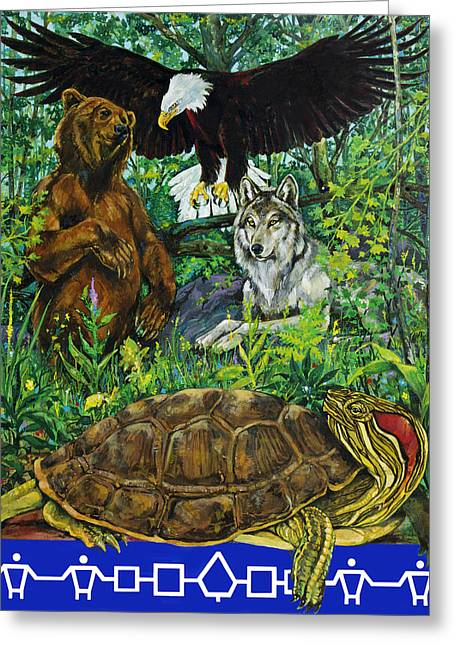 League Paintings Greeting Cards - Tribal gathering Greeting Card by Derrick Higgins