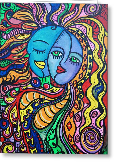 Green Day Paintings Greeting Cards - Tribal Love Greeting Card by Lorinda Fore and Tony Lima